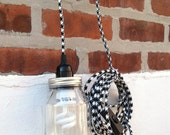 Urban Chic Mason Pendant Light with a Cloth Cord and 2 Prong Plug - Choose Your Favorite Cord Color (Houndstooth and Mint Green Pictured)