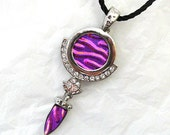 "Dichroic Glass Rhinestone Pendant & Necklace   ""Sparkles"""