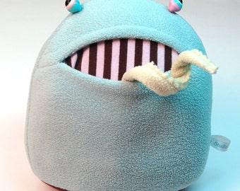 Pale Dusty Aqua Polliwog Monster Plush Lampwork Eyes