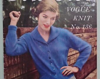 Vintage Vogue Knitting Patterns Booklet 1950s - Classics Vogue-Knit No. 136 50s original patterns women's cardigan suit sweater twin set