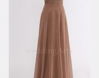 Light Brown Bridesmaid dress with roses one shoulder Custom 120 colors Any size