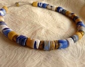 ocean beach polymer necklace blue gold handmade cotton string