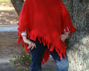 Candy Apple Red Poncho - The Perfect Wardrobe Addition
