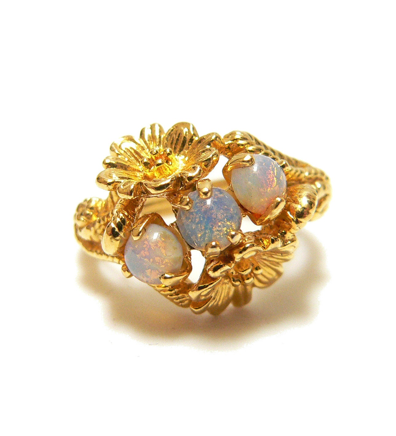 Vintage Opal Ring Avon Ring 1970s Jewelry Cocktail Ring