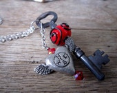 Follow your Heart - Red - Glass Lampwork Bead Skeleton Key Necklace - Antique Vintage Key Jewelry