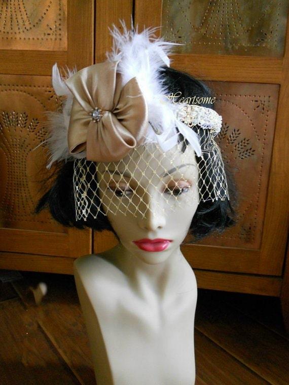 Headband veil blusher flapper 40s 20s gold white custom bride fascinator