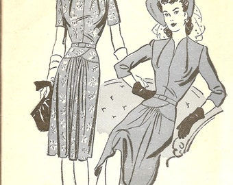 1940s Dress Pattern - Vintage Sewing Patterns - Classic 40s Dress Pattern - Dress with Shoulder Pads - Advance 3185 - Bust 38