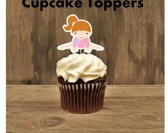Gymnastics Friends- Set of 12 Redhead Pink Leotard Gymnast Cupcake Toppers by The Birthday House