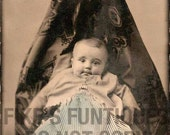 Creepy Hidden Mother with Baby, Handcolored Dress - Vintage Photo Digital Download