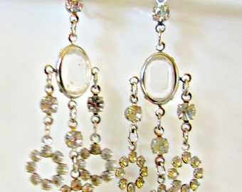 Vintage Dangle Earrings Bridal Earrings Rhinestone Clip On Earrings 1960s
