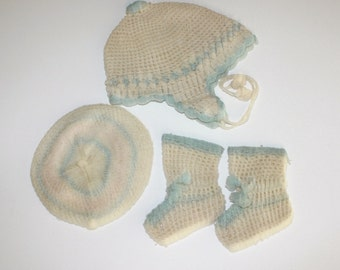 Vintage Baby Hat Beret Booties Blue and Ivory Crocheted 1950s Baby Outfit Doll clothes