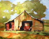Barn Print, Barn Painting, Landscape Painting, Red Barn Painting, Old Barn, Wall Art, Country Art, Farm Art, Decorative Art, Free Shipping