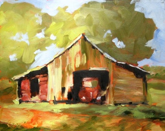 """Giclee Print from My Original Oil Painting """"Old Truck, Old Barn"""" 10 x 8"""