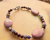 Rhodonite and Amethyst Bracelet, Gemstone Bracelet, Pink and Purple, Handcrafted Jewelry, Boho Jewelry,