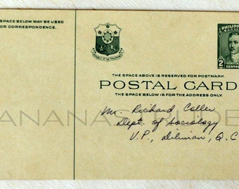1950s Vintage Philippine Postal Card / Handwritten Return Card / Dept. of Sociology, UP, University of the Philippines, Diliman.