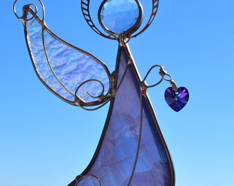 Purple Angel of Love Stained Glass Suncatcher