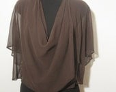 Women clothing, multiway shrug, dark brown silk, 7 in 1