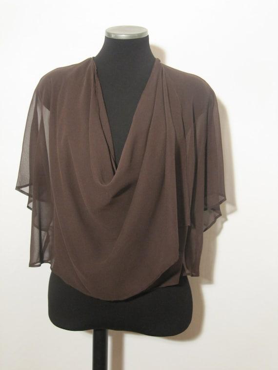 Women clothing, multiway shrug, dark brown silk, 7 in 1