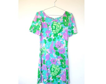 1960s Blue Green Floral Mini Dress Vintage Shift Summer Small