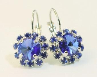 Sapphire Blue Earrings Royal Blue Wedding,Cobalt Halo Drop earrings Something Blue swarovski rhinestones Crystal Silver finish,Sapphire,SE96