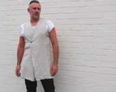 Men's Linen waistcoat handmade vest with hand-made button and raw hems. Minimalist mens fashion clothing.