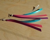 RESERVED... Longer purple, pink, teal, and silver ribbon earrings with niobium earwires