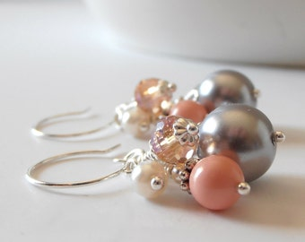 Coral Bridesmaid Earrings Coral and Pewter Pearl Bead Cluster Earrings Wedding Jewelry Crystal and Pearl Dangles Bridesmaid Jewelry Beaded