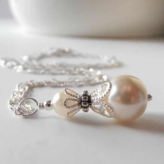 Wedding Jewelry Ivory Pearl Necklace Bridal Necklace Ivory
