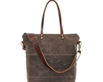 Waxed Canvas Tote in Oak Brown with Exterior Pockets