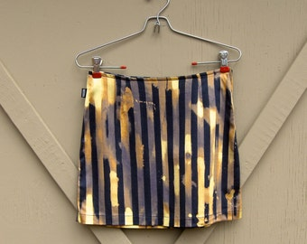 vintage Moschino Jeans Striped Bleach Spattered Effect Mini Skirt / made in Italy