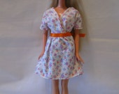 Orange Flowered Wrap Dress and Shoes for Barbie