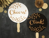 Photo Prop. Photobooth Prop. Set of Two. Cheers and Clink - Black, White and Gold Glitter