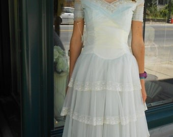 """1950's, 32"""" bust, baby blue and white, pleated and lace edged wedding gown"""