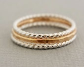 Gold Ring and Sterling Silver Rings 3 thin stacking rings