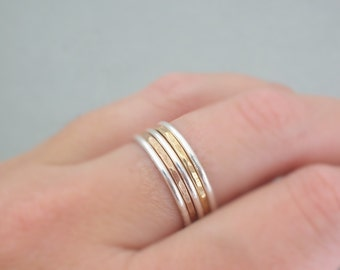 Stackable Rings mixed metal rings Rose Gold or Gold Rings Silver Rings 5 Sterling Silver and Gold Filled stackable rings