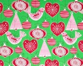 Michael Miller Ornaments for All Green Red Pink 1 yard Fabric