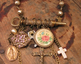 CLEARANCE - Upcycled Jewelry - Jute Wrapped Skeleton Key with PINK Themed and Religious Themed Refound Objects Necklace Assemblage