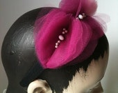 Tulle Hearts Headband, Pink and Magenta Hairband with Beads and Pearls, Cocktail Headpiece