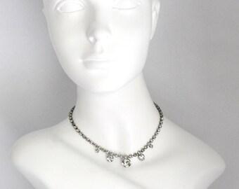 Vintage Rhinestone Necklace Wedding or Prom, Wedding Accessory, Wedding Jewelry, Bridal Accessory, Bridal Necklace, Rhinestone Necklace