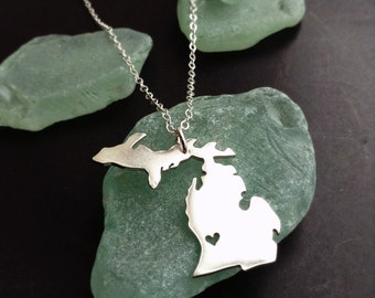 Upper Peninsula and Lower Peninsula Michigan Necklace Personalize the Heart Location