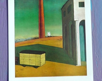Vintage 50s print of The Anguish Of Departure by Chirico dreamlike colorful industrial architecture desert landscape beautiful desolation