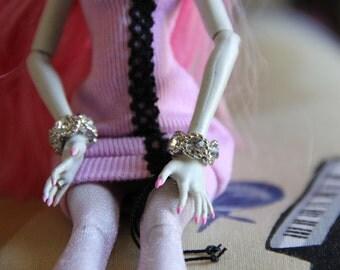 Silver Crystal  Rhinestone Cuff Bangle Bracelet fits Petite Slimline dolls