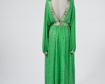 Vintage Palazzo Pantsuit: 1980s Hand Beaded Green Silk Chiffon Gown Made in Hong Kong