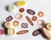 bakery rubber stamp set. bread  hand carved rubber stamp. baguett/pretzel/bun/scroll bread/white bread/sour dough. birthday craft. set of 6