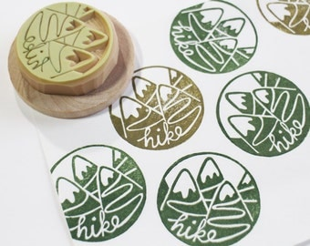 hiking stamp. mountain hike hand carved rubber stamp. woodland stamp. hiking lover stamp. diy summer holiday scrapbooking. choose option