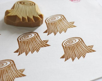 tree stump rubber stamp. tree hand carved rubber stamp.  gift packaging. card making. holiday crafts