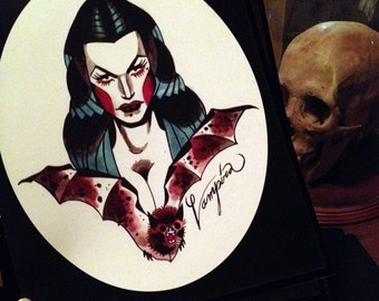 vampira tattoo flash portrait - 8 x 10