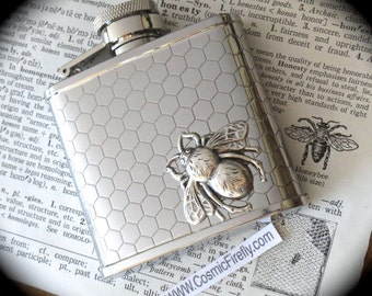 Small Bee Flask Honeycomb Hexagons Silver Pocket Flask Gothic Victorian Steampunk Vintage Inspired Reproduction