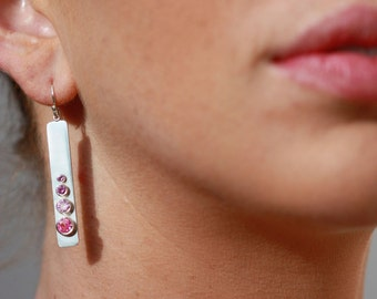 4 Stone Sequence Earring (Pink Tourmaline) made to order