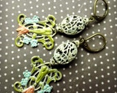 Lovely hand painted filigree earrings, shabby chic vintage inspired
